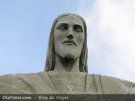 El rostro de la estatua Cristo Redentor