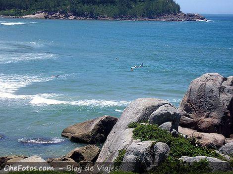 Surfistas en las olas de Ferrugem