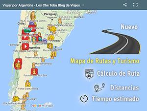 Mapa Rutas Viajar por Argentina