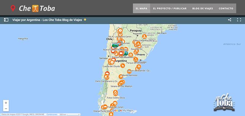 Mapa para viajar en auto por Argentina