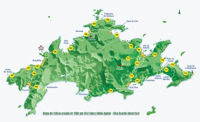Mapa de senderos de Isla Grande - Trilhas da Ilha Grande