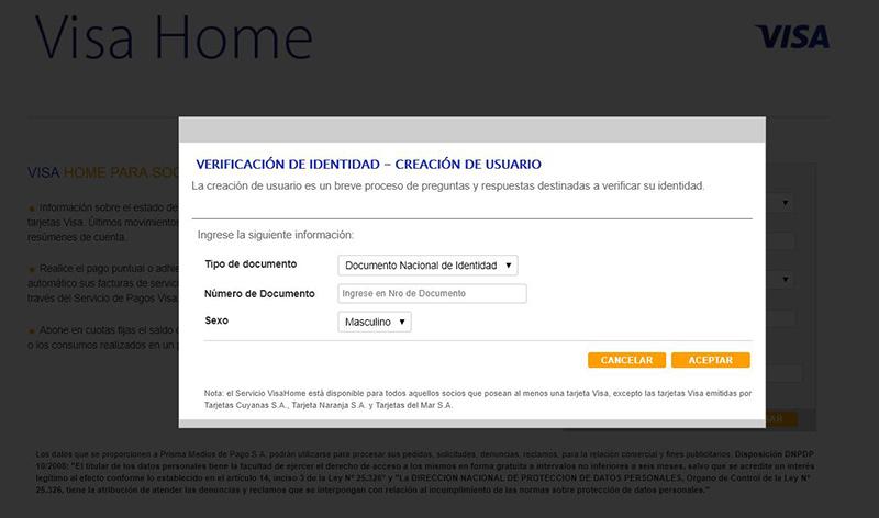 Visa Home crear clave