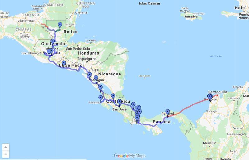 Cruzar Centroamérica en auto por carretera