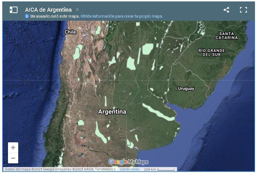 Mapa de AICAs en Argentina