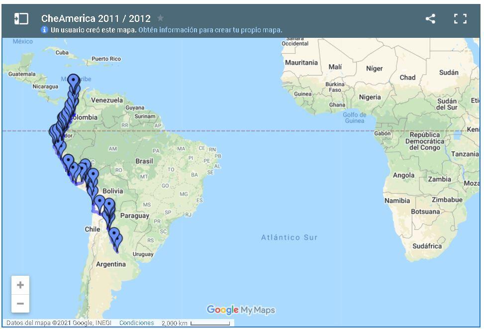 Mapa sugerido para recorrer sudamérica en auto