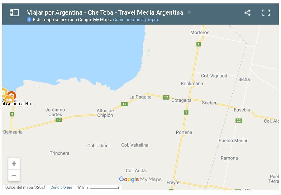 Mapa zona sur Parque Nacional Mar de Ansenuza