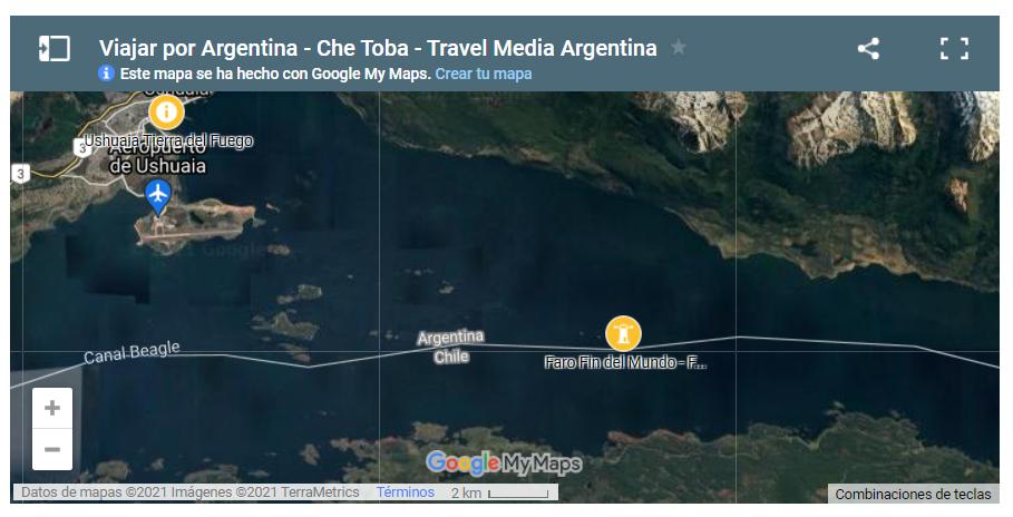 Mapa Canal de Beagle, Faro del Fin del Mundo