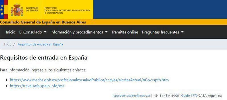 Contactos Embajada de España