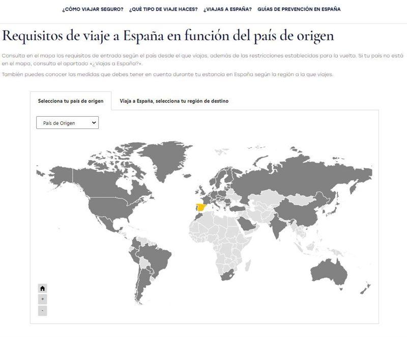 Información oficial para viajar a España desde mi país