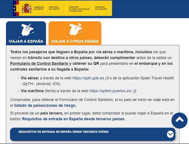 Requerimientos para viajar a España