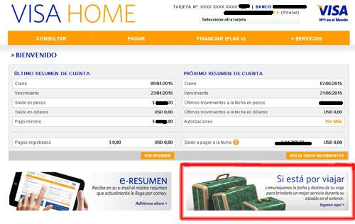 Informar viaje al exterior tarjeta visa paso a paso - Habilitar visa debito para el exterior ...