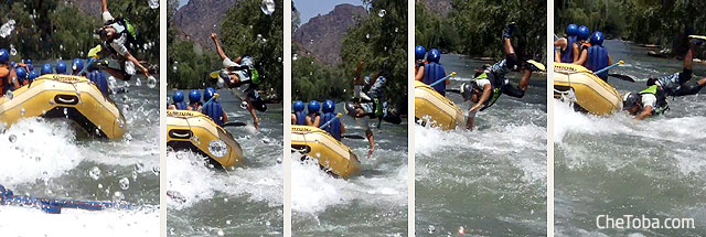 Caída al agua desde bote rafting