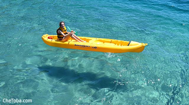 Kayak sombra fondo agua